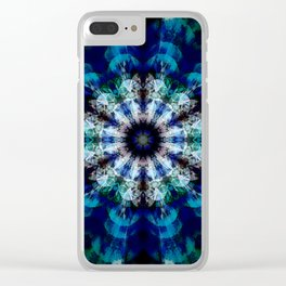 Mandala with hidden skulls and aliens Clear iPhone Case