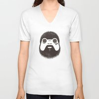 gamer V-neck T-shirts featuring The Gamer by powerpig