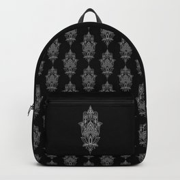 Beautiful Fatima Hand - The Hamsa, sharp, white graphic on black Backpack