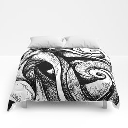 Swirl (black and white) Comforters