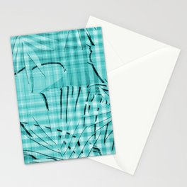 Turquoise Tropical Leaves Plaid Design Stationery Cards