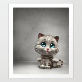 gray kitten Art Print