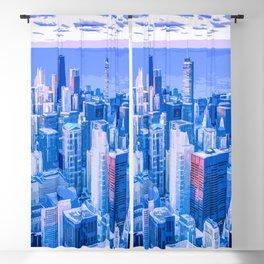Blue Chicago Skyline Blackout Curtain