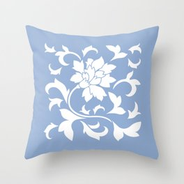 Oriental Flower - Serenity Blue Throw Pillow