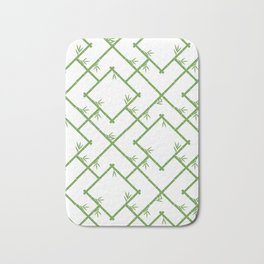 Bamboo Chinoiserie Lattice in White + Green Bath Mat