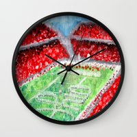 ohio state Wall Clocks featuring Ohio State Buckeyes by Emily Kenney