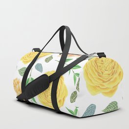 Hand painted yellow coral watercolor modern floral Duffle Bag