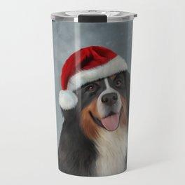 Bernese Mountain Dog in red hat of Santa Claus Travel Mug