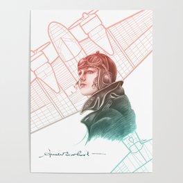 Amelia Earhart Courageous Adventurer Poster