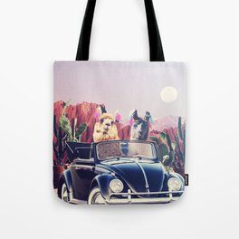 Llamas on the road Tote Bag