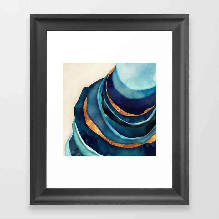 Abstract Blue with Gold Gerahmter Kunstdruck