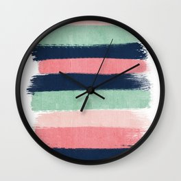 Painted stripe stripes mint navy pink modern color palette painterly minimalist nursery art Wall Clock