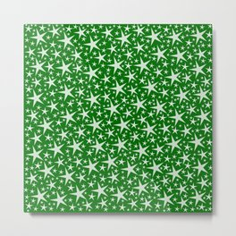 many small stars on festive paper background in green Metal Print