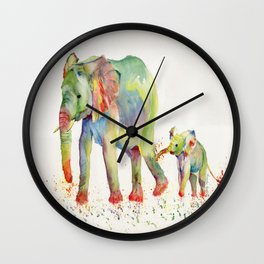 Colorful Elephant Family Wall Clock