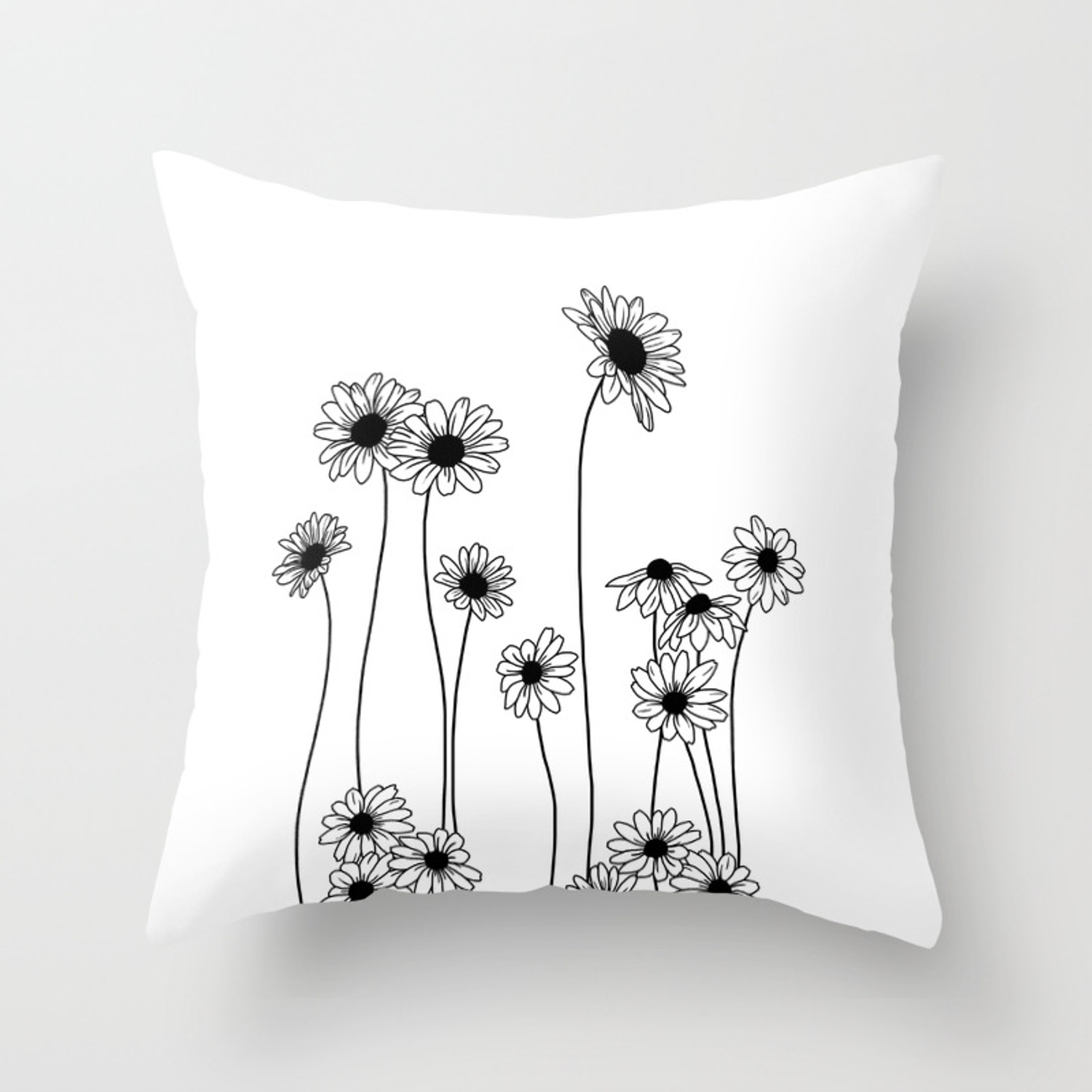 Minimal Line Drawing Of Daisy Flowers Throw Pillow By Thecolourstudy Society6