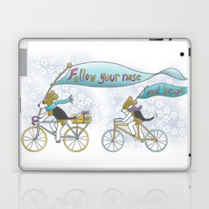 'Follow Your Nose ... and Heart' Beagles on Bicycles Laptop & iPad Skin
