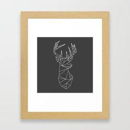Greometric Stag (White on Grey) Framed Art Print