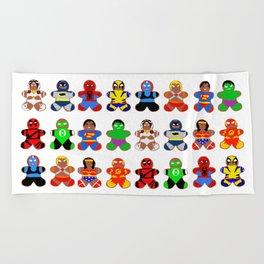 Superhero Gingerbread Man Beach Towel