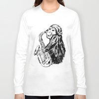 saxophone Long Sleeve T-shirts featuring Musician monkey saxophone by Jemma Banks