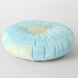 Blue heart mandala Floor Pillow