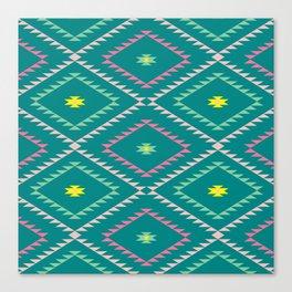 Navajo Pattern - Bright / Teal Canvas Print