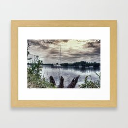 Yacht on Wroxham Broad. Framed Art Print