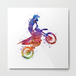 Boy Motocross Watercolor Art Colorful Gift Motorcycle Art Metal Print