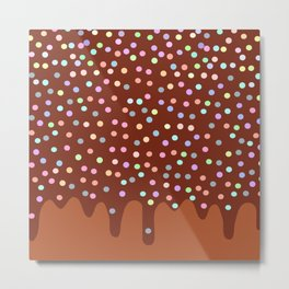 Dripping Melted chocolate Glaze with sprinkles Metal Print