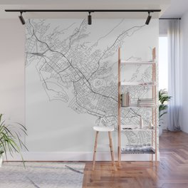 Honolulu White Map Wall Mural