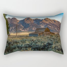Wyoming - Moulton Barn and Grand Tetons Rectangular Pillow