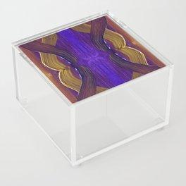 Golden Violet Autumn Waves Vertical Pattern Acrylic Box