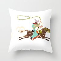cowboy Throw Pillows featuring Cowboy by Design4u Studio