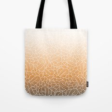 Ombre orange and white swirls doodles Tote Bag