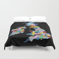 uk Duvet Covers featuring UK on Black by Project M