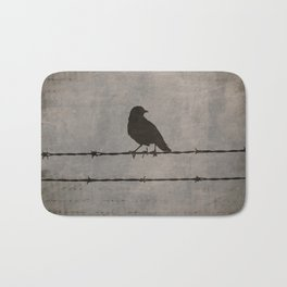 Rustic Black Bird Barbed Wire Modern Country Home Decor Art Matted Picture A476 Bath Mat