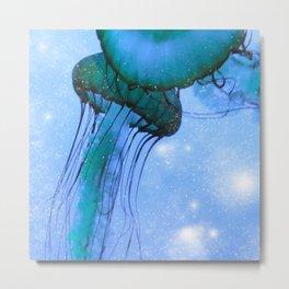 Blue Glow Jelly Fish Metal Print
