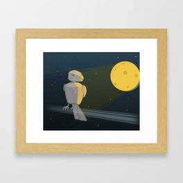 Robot bird in space Framed Art Print