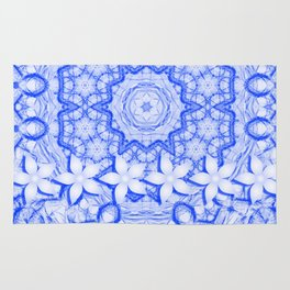abstract blue mandala with flowers Rug