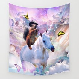 Cowboy Squirrel Riding Unicorn Wall Tapestry