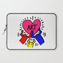 "Keith Haring inspired ""I Love Art"" Primary Colors edition Laptop Sleeve"