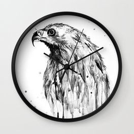 Eagle, black and white Wall Clock