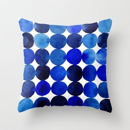 Blue Circles in Watercolor Throw Pillow