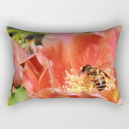Prickly Pear Cactus Blossom with Visitor Rectangular Pillow