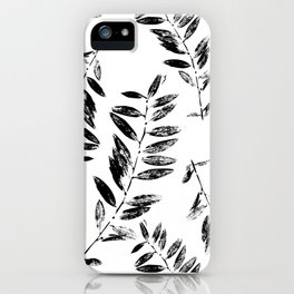 Black and White Abstract leaves silhouette seamless pattern iPhone Case