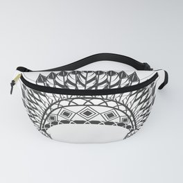 American indian hat. Wild West theme. Monochrome style Fanny Pack