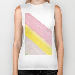 Pastel pink yellow watercolor geometrical stripes Biker Tank
