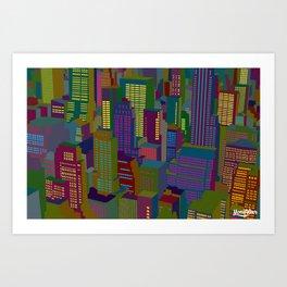 Cityscape night Art Print