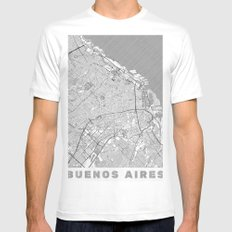 Buenos Aires Map Line White X-LARGE Mens Fitted Tee