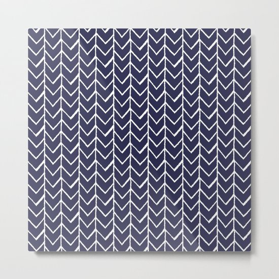 Herringbone Blue And White Metal Print