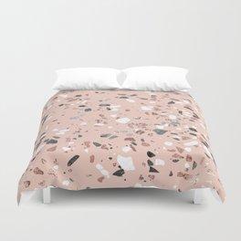 Pink Quartz and Marble Terrazzo Duvet Cover